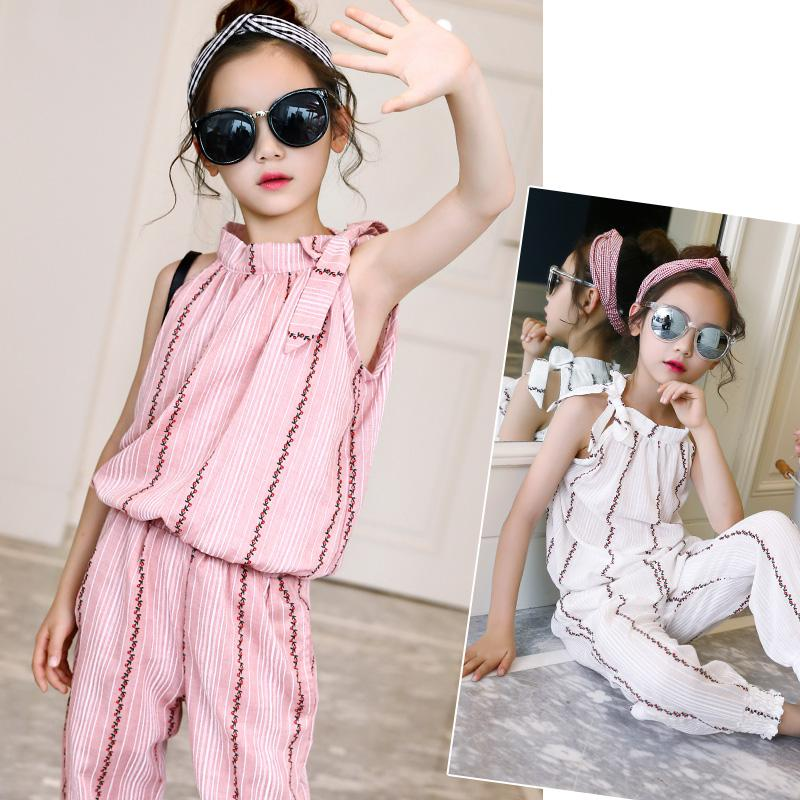 Kids Girls Clothing Set Summer 2018 Cotton Sleeveless Striped T-shirts + Pants Set 2 Pcs Sets Girls Clothes Suits 6 8 10 12 14 T цена 2017