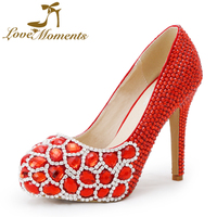 Tình yêu Những Khoảnh Khắc phụ nữ giày đỏ bơm handmade pha lê wedding Bridal phụ nữ giày của giày cao gót Váy giày ăn mặc giày bên