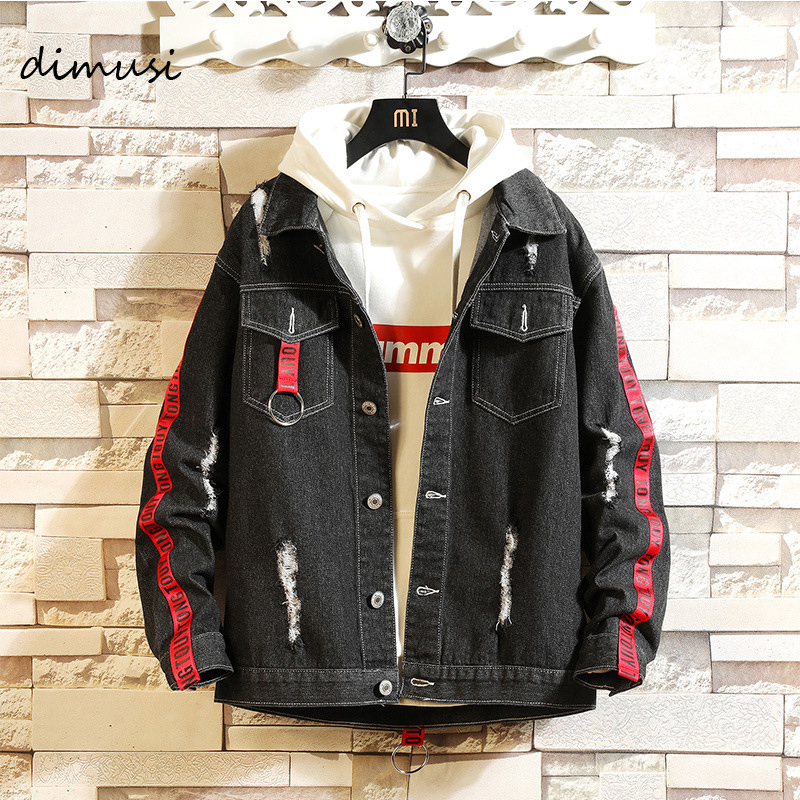 DIMUSI Men's Denim Jackets Fashion Anorak Jackets Mens Hip Hop Streetwear Denim Coats Male Harajuku Ripped Zipper Sleeve Jackets