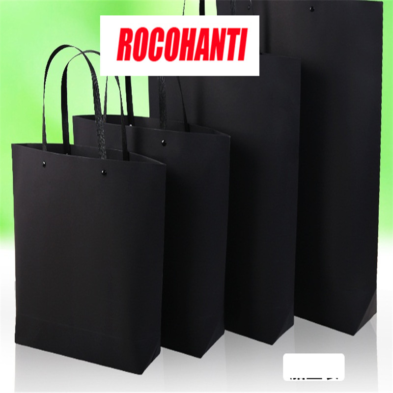 33 * 25 black calfskin paper bag with a heavy hull bag and a custom printed garment gift bag with shopping bags