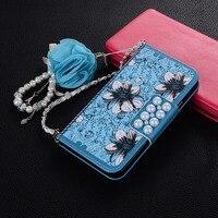 Luxe 3D crystal bloemen met een ketting Flip Portemonnee Banket Lederen Case Voor iphone X 5 S SE 6 6 S Plus 7 7 Plus Gevallen Cover Vrouwen