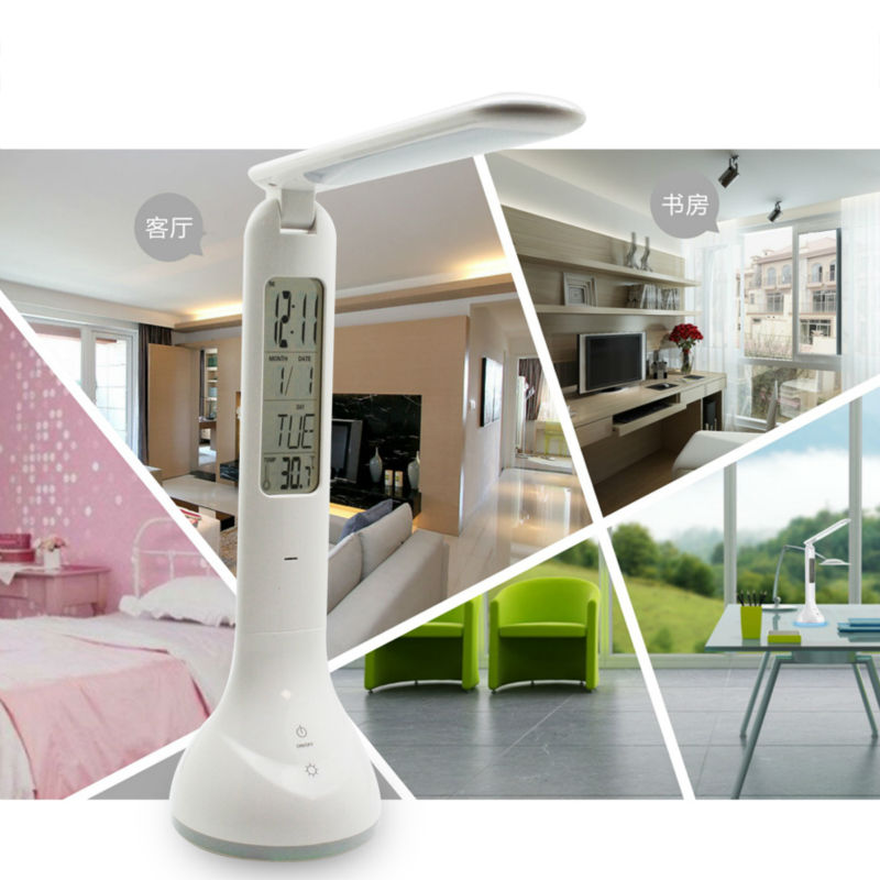 Foldable Dimmable Led Desk Lamp Table Light With Calendar Temperature Alarm Clock Atmosphere Colors Changing Book Lighting