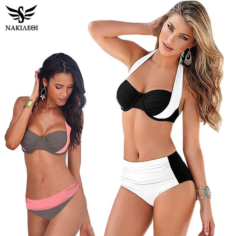 2016 Newest Sexy Bikinis Women Swimsuit High Waisted Bathing Suits Swim Halter Top Push Up Bikini