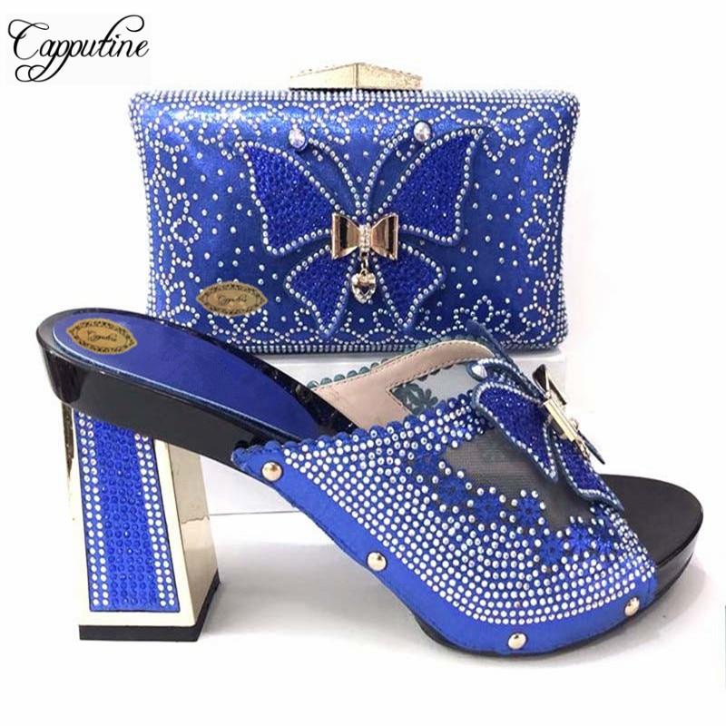 Capputine Summer Design Shoes And Bag Set fOR Dress Nigerian Rhinestone Women Wedding Shoes And Bag Set African Slipper Shoes цена 2017