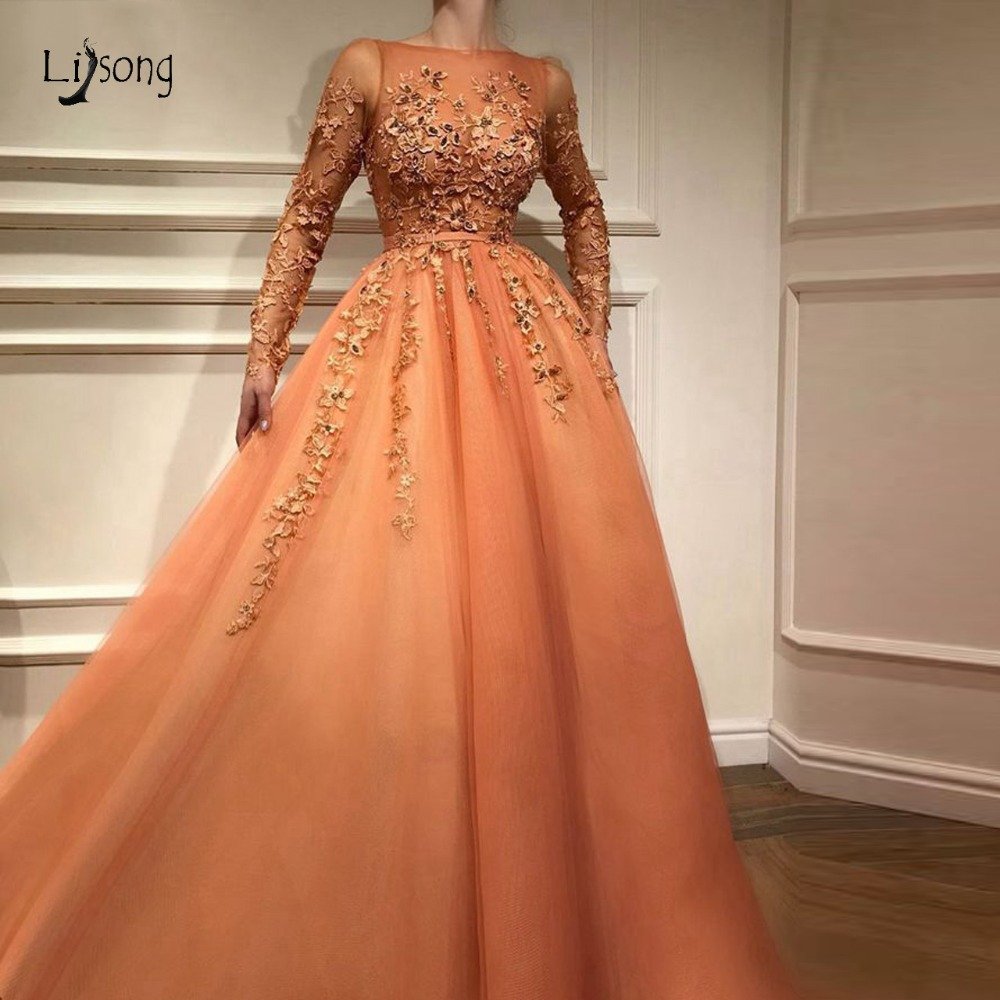Fashion Pretty Lace   Evening     Dress   With Full Sleeves Abiye Muslim Long A-line Prom Gowns Colorful Appliques Abendkleider
