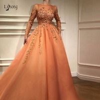 Fashion Pretty Lace Evening Dress With Full Sleeves Abiye Muslim Long A line Prom Gowns Colorful Appliques Abendkleider