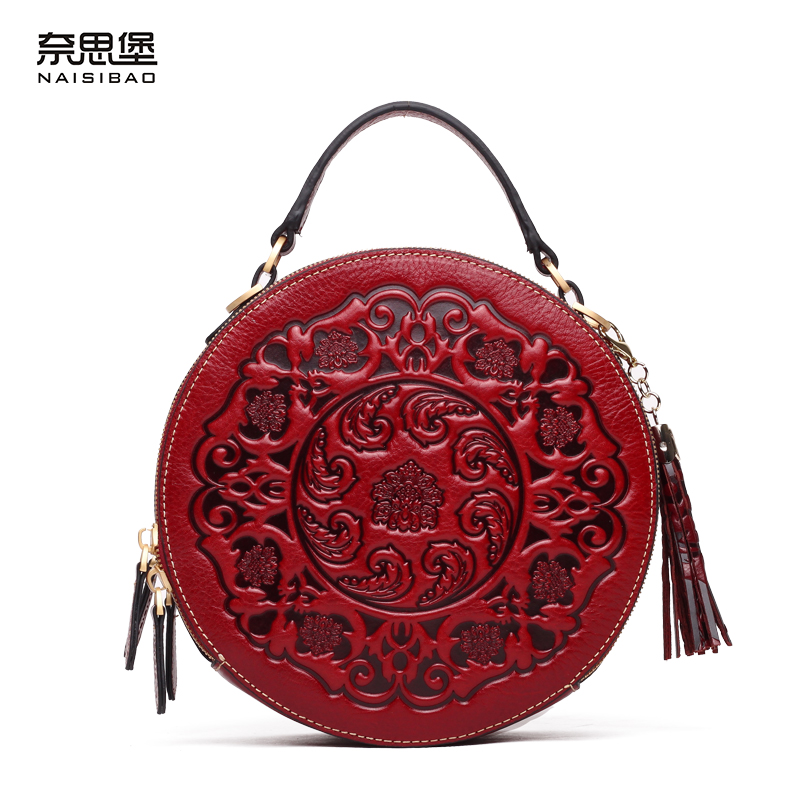 цены  High quality Chinese style Brand name Genuine leather pattern women fashion handbag Vintage shoulder Messenger Bag Free shipping