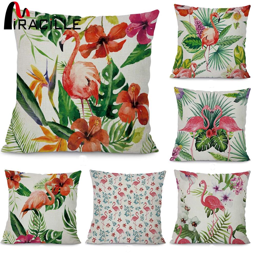 Miracille Hojas tropicales y patrón de flamenco Sofá Throw Cojín - Textiles para el hogar
