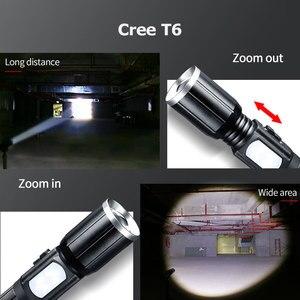 Image 3 - Haute puissance rechargeable T6 led 18650 lampe de poche tactique lintern usb ultraviolets lampes de poche mécaniques Flashlight