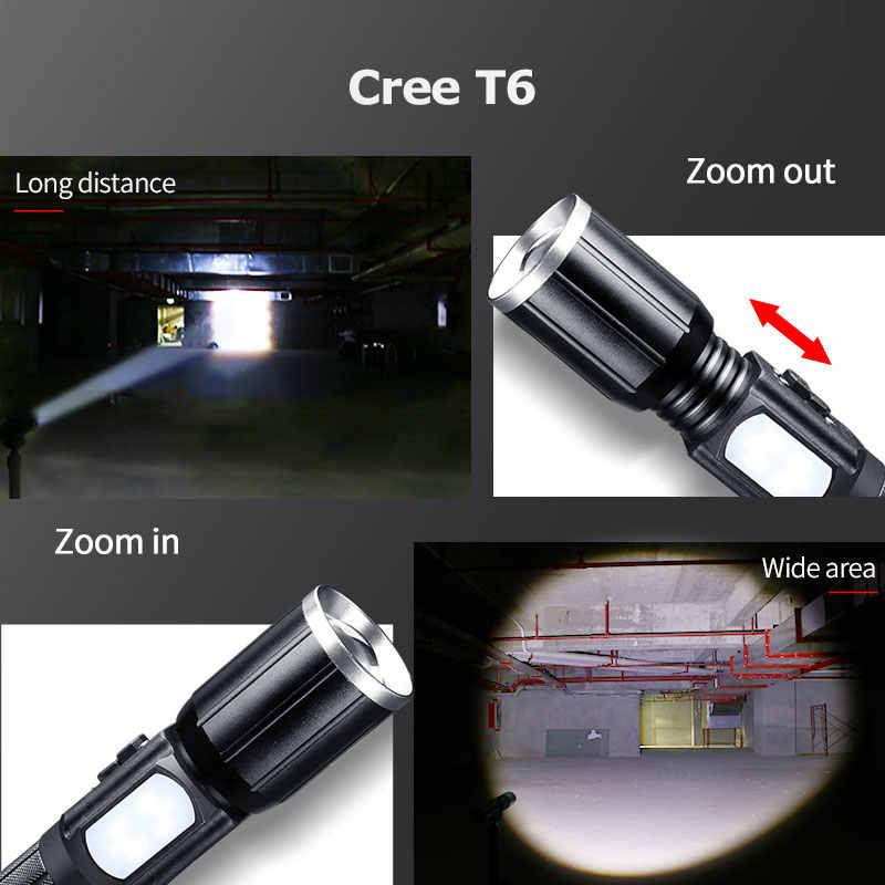 Haute puissance rechargeable T6 led 18650 lampe de poche tactique lintern usb ultraviolets lampes de poche mécaniques Flashlight