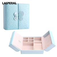 LASPERAL Women Leather Jewelry Box For Cosmetic Multifunctional Travel Jewelry Storage Box Makeup Organizer Storage Case