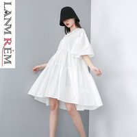 LANMREM 2019 New Summer Fashion Women Clothes peter pan collar Flare Sleeves Pleated Pullover Peter Pan Collar Dresses WG33501