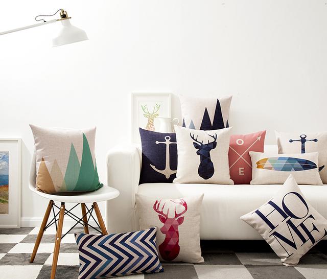 Nordic Minimalismo Home Amor Cojín Geométrica Ancla Ciervo Alce Pájaro Fundas de Almohada Decorativa Funda de Almohada de Algodón de Lino