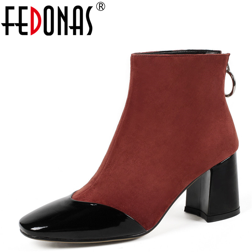 FEDONAS Fashion Women Ankle Boots Autumn Winter Warm Wedding Party Basic Boots Cow Suede Brand High Heels Martin Shoes Woman цены