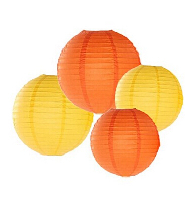 24 Pack Mixed Sizes Yellow Orange Paper Lantern Lampshade Wedding Birthday Party Baby Room Decoration