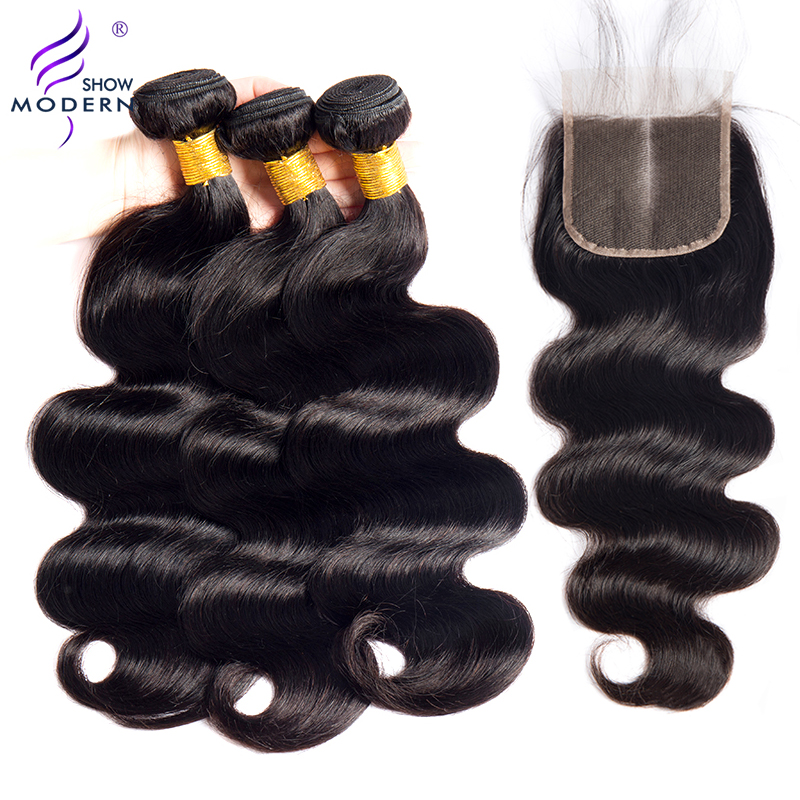 Modern Show Brazilian Body Wave Bundles with Closure Hair Weave Bundles with Closure Human Hair Bundles with Closure Non-Remy