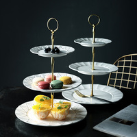 3 Tiers Fruit Dessert Tray Tower Dessert Plates for Wedding Party Decoration Exquisite Tableware Teatime Round