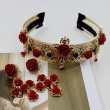 Повязка на голову в стиле барокко, более широкая, чем винтажная металлическая тиара с красным крестом и цветами, свадебные аксессуары 735