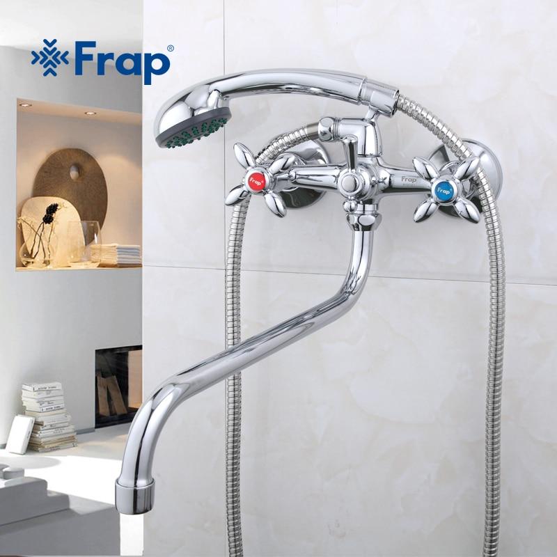 Frap Classic Shower Bath Faucet Long Nose Bathtub Mixer Hot And Cold Water Dual Handle Dual Control F2208 F2209D F2220 F2227D