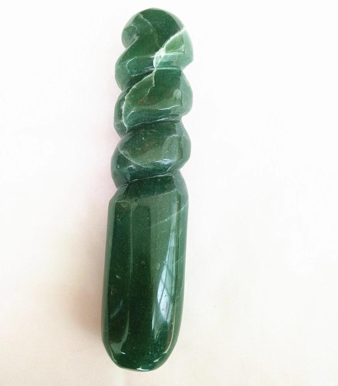 Natural quartz crystal green aventurine massage wand for women