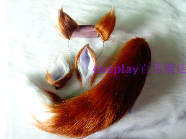 Brown White Stitching Plush Ears Tail Fox Wolf Animal Cosplay Props Cartoon Perform все цены
