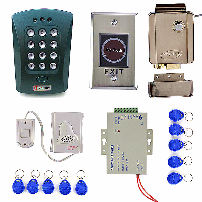 IR NO Touch Door Switch+ 1000 Users EM Card Access Control System Kit +Strong Electronic Lock metal rfid em card reader ip68 waterproof metal standalone door lock access control system with keypad 2000 card users capacity