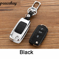 Peacekey Genuine Leather Car Case Key For Volkswagen Keychain Vw Polo Bora Beetle Tiguan Passat B5