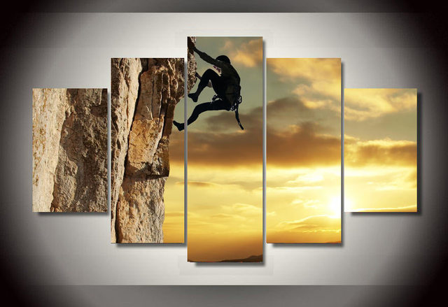 Wall Art Picture Home Decoration Printed Rock Climbing Group ...