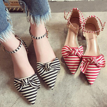block middle heels pointed toe bowknot ankle strap sweet stripe