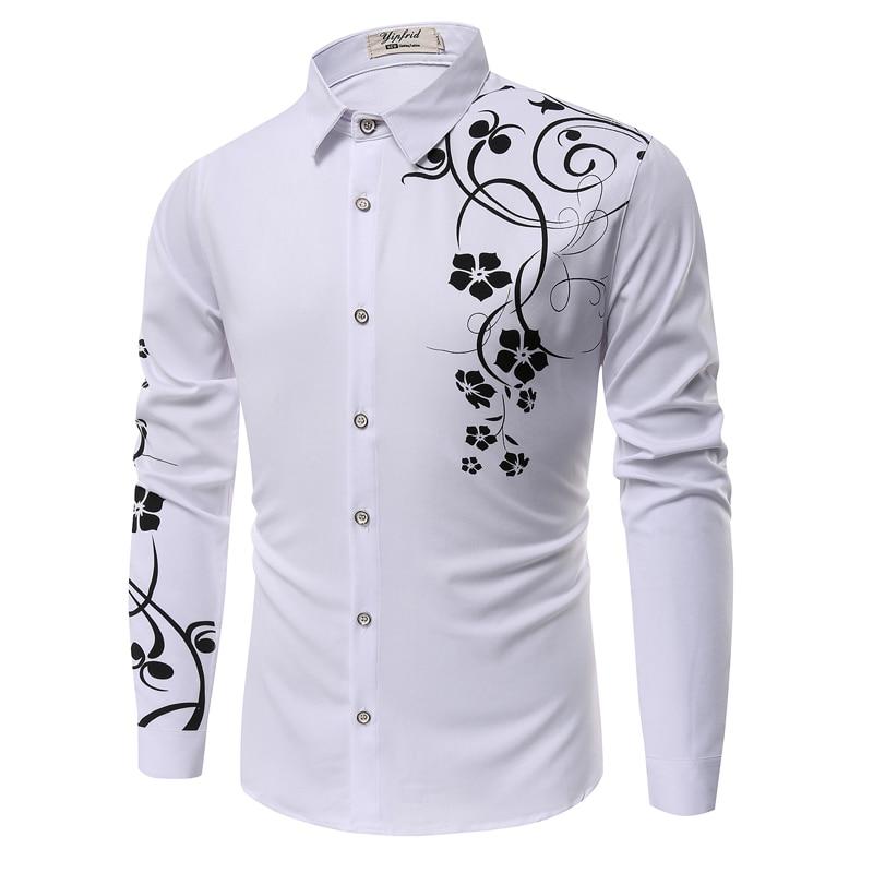 2020 New Mens Flower Shirt Fashion Casual Shirt Men White Black Blue Shirts Autumn Mens Slim Camisa