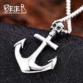 Beier new store 316L Stainless Steel pendant necklace high quality Anchors skull retro fashion chain men jewelry  BR-P027