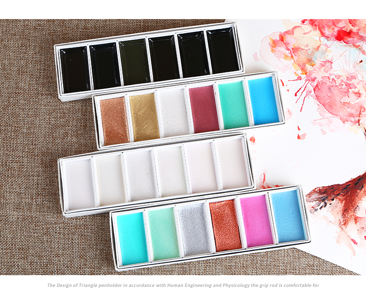 6 cores conjunto de aquarela japonês pintura