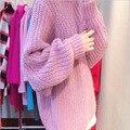 Осень и Зима Новый Мода Шею Свитер Вязание Мохер Свободные Рукава Летучая Мышь Пуловеры Пальто Толще Женщина Розовый Мода Чом