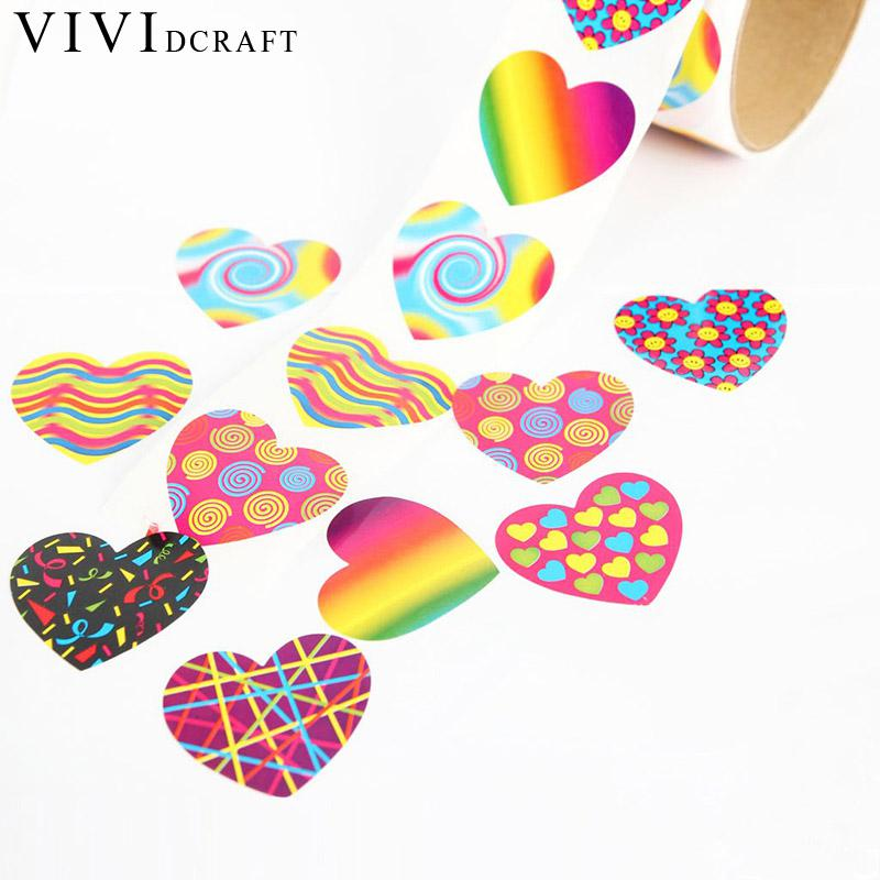 Vividcraft kawaii stationery items 100 pcs lot 3 8cm custom stickers scrapbook supplies fun express funky heart roll stickers in stationery sticker from