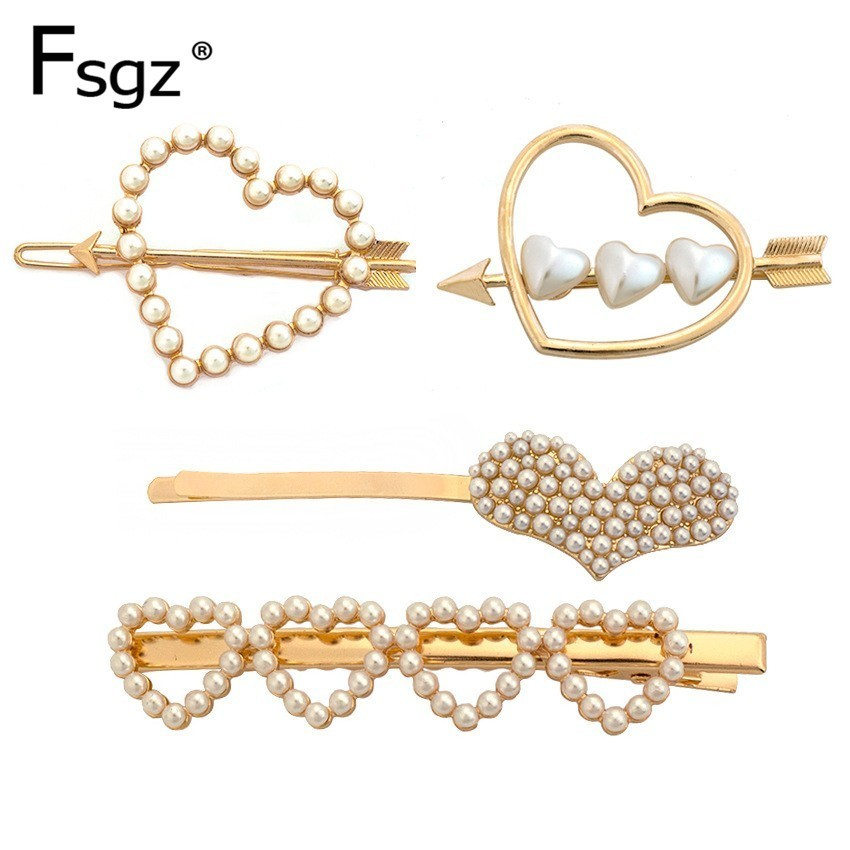 Newest Pearls Hairpins For Women Geometric Hollow Out Heart Hair Clips Gold Metal An Arrow Through A Type Accessories