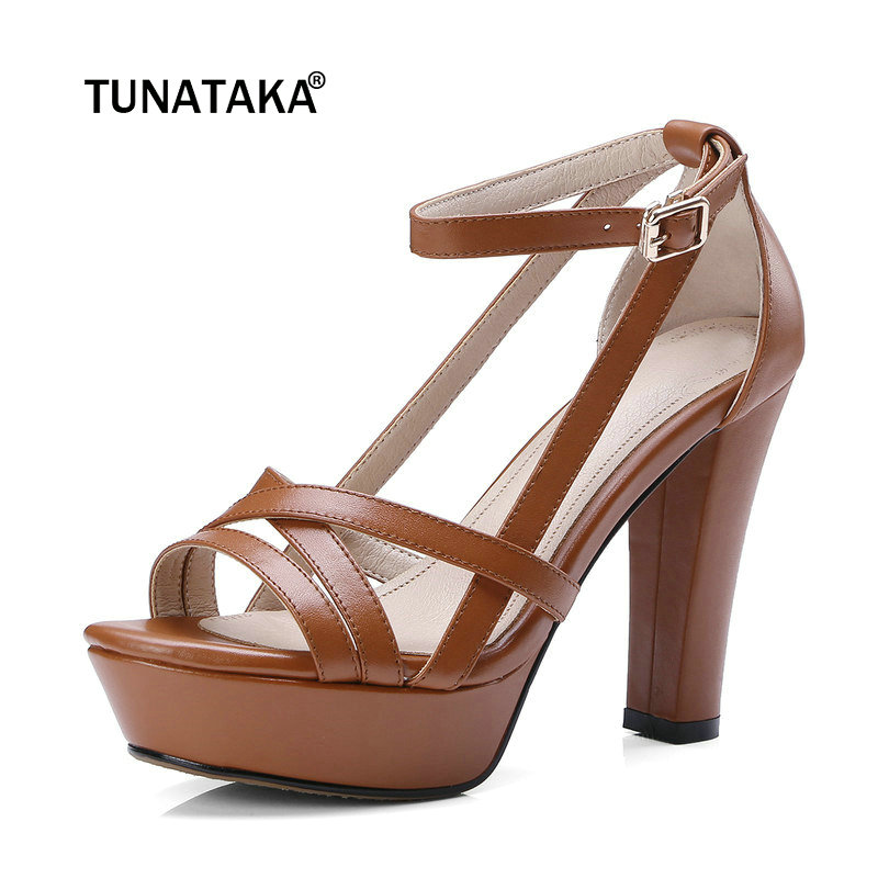 Genuine Leather Platform Square High Heel Woman Sandals Fashion Buckle Dress Shoes Woman Black Beige Brown colorful jelly shoes for woman high square thick transparent heel buckle casual style hot sale woman sandals free shipping