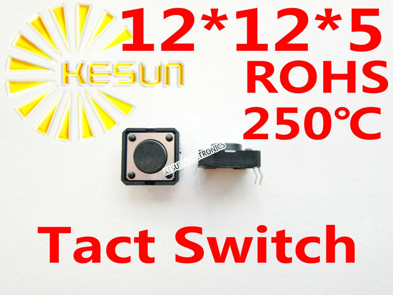 FREE SHIPPING 100PCS DIP 12X12X5MM Tactile Tact Push Button Micro Switch Momentary ROHS