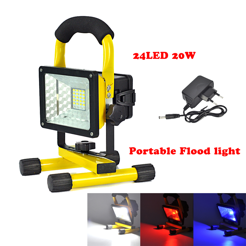 цена на Rechargeable Portable Floodlight 30W 24 LED Red/White/Blue Flood Light Waterproof Camping Fishing Emergency Outdoor Light