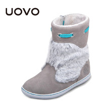 Uovo Brand Kids Suede Boots Grey Color Girls Winter Shoes Chaussure Enfant Fashion Plush Decoration Children Botas Ninas EU28-39(China)