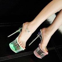 Catwalk Shoes Led Lighting-up Transparent Shoes Women 2019 Summer High Heel  Peep Toe Nightclub 8d7b270e9178