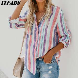 e31c6a3c0d400 hirigin Womens Long Sleeve Shirt Striped Blouse Summer