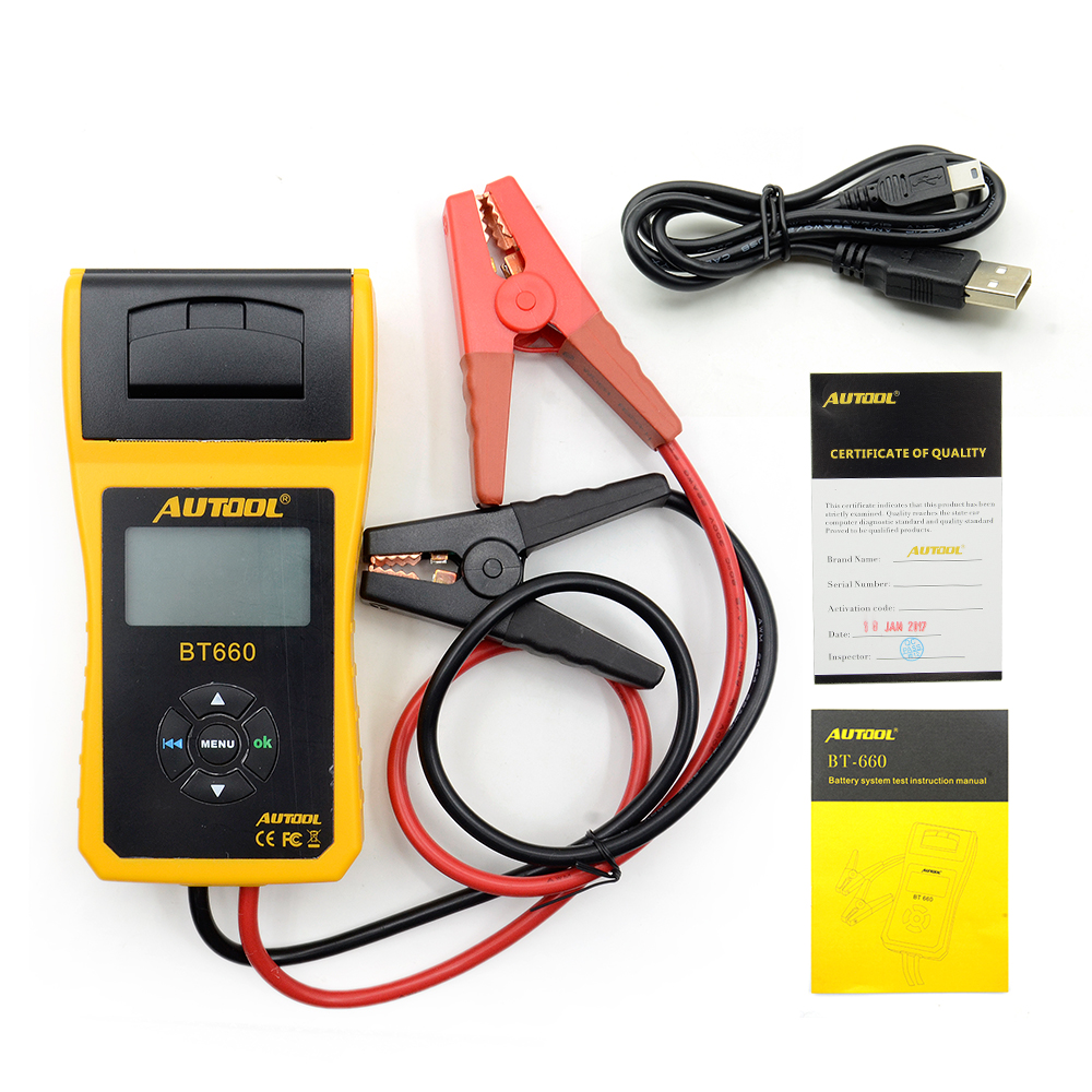New Arrival AUTOOL 12V Car Battery Load Tester with printer BT660 Multi language Digital automotive battery