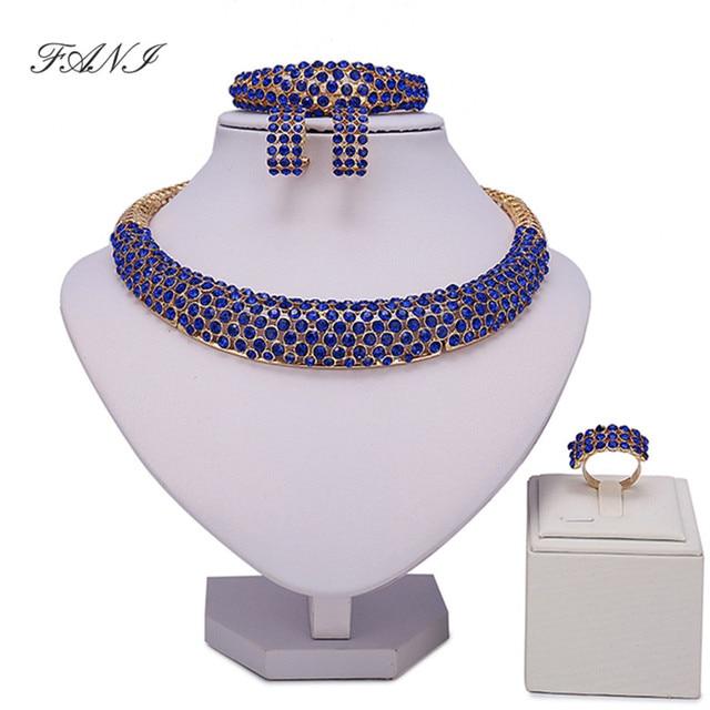 Fani הכלה דובאי זהב ערכות תכשיטים צבעוניים נשים לקוחות מותג סיטונאי סט תכשיטי חרוזים אופנה אפריקאים כלה ניגרית
