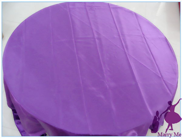 10pcs 90 Inch Round Purple Satin Tablecloth Cheap Table Cloth For Wedding  Free Shipping(China