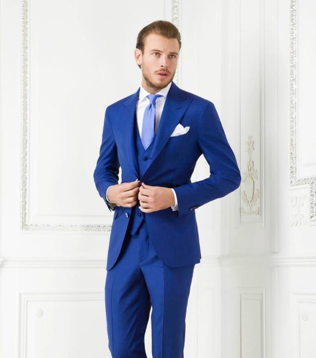 Aliexpress.com : Buy men tuxedo royal blue groom suit dinner ...