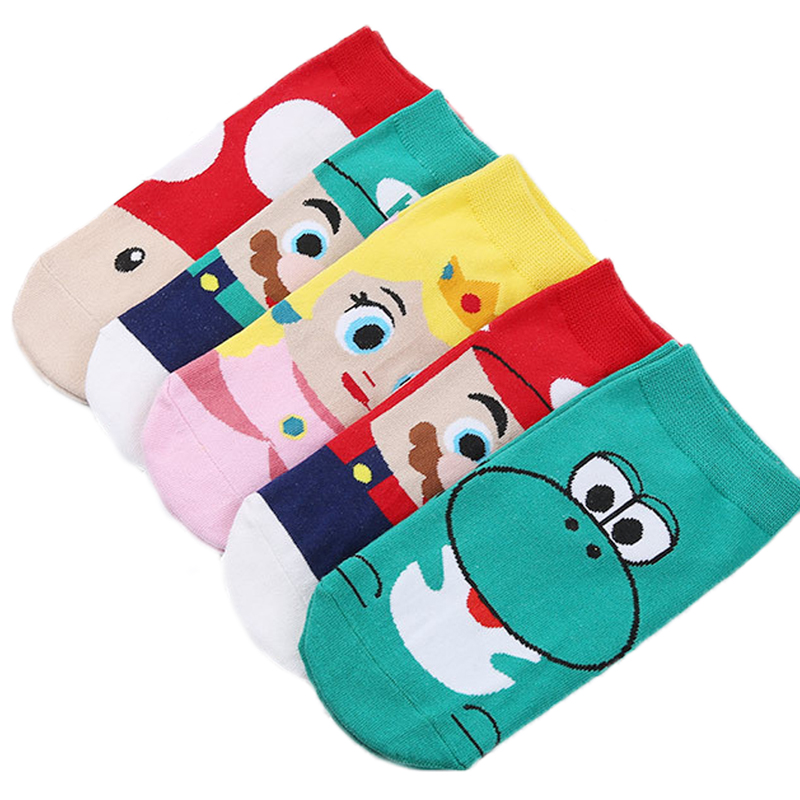 JULY'S SONG Women Funny   Socks   Cartoon Yoshi Short   Socks