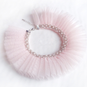Pet Cat Dog Collar Lace Pearls