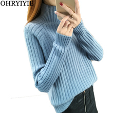 OHRYIYIE Blue Long Sleeve Knit Pullover Sweater Women 2019 Autumn Winter Turtleneck Ribbed Sweaters Female Thick Warm Basic Tops girls pullover wool sweater thick warm tops kids ribbed sweater 100