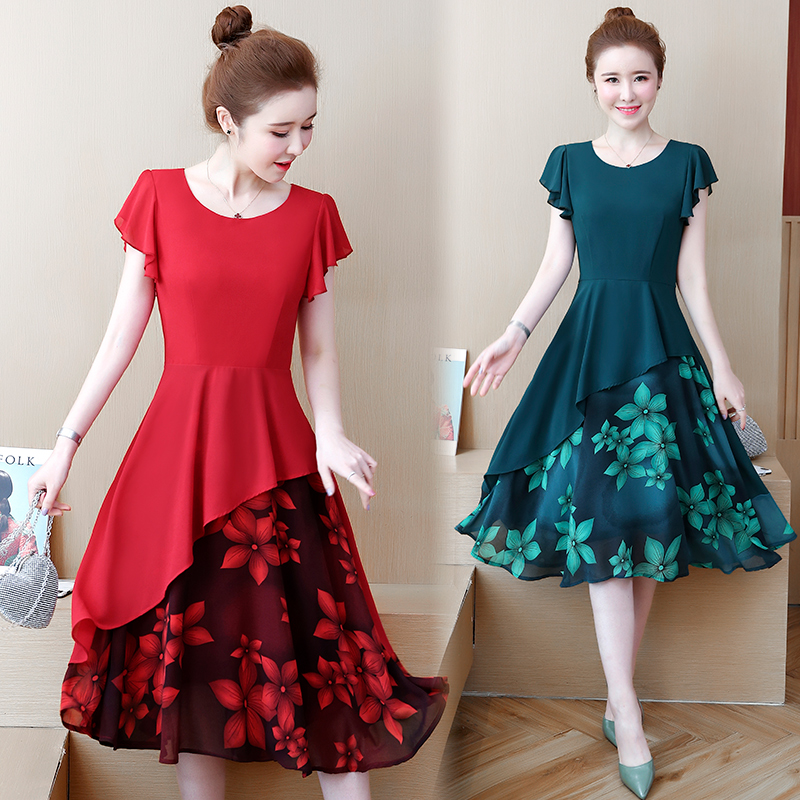 womens woman ladies summer Floral plus size M-4XL XXL XXXL 3XL XXXXL slim Casual Swing beach office work blouses dress for women image