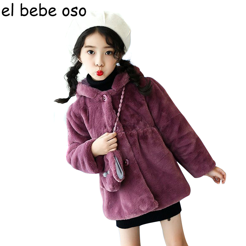 el bebe oso Girls Winter Outerwear Fashion Thick Warm Faux Fur Coats with Bag Rabbit Ears Hooded Jackets Children Clothing XL244 winter kids rex rabbit fur coats children warm girls rabbit fur jackets fashion thick outerwear clothes